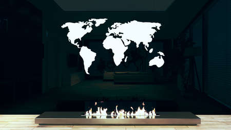Modern chrome fireplace design idea with shiny glass wall and world map for home and office place. 3D rendering