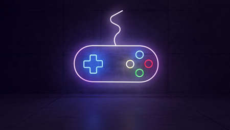 Game joystick neon light with colorful light effect in dark concrete room concept 3d rendering Banque d'images