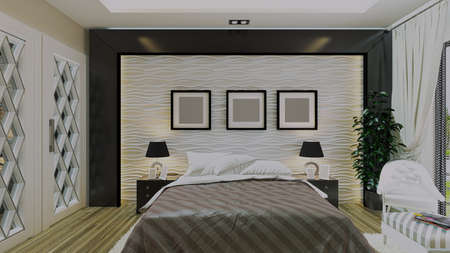 Modern bedroom design with wavy wall and wooden under light effect concept 3d rendering