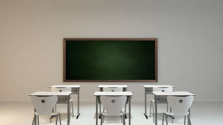 empty modern classroom concept with white wooden desk, chair and green board background 3D rendering Banque d'images