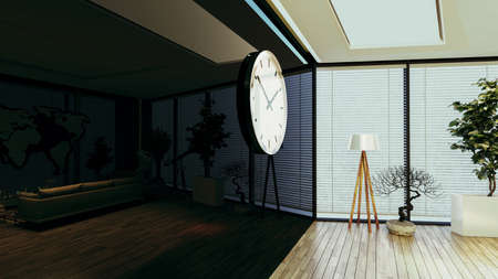 Modern office concept with wooden parquet floor, plant, floor lamp and black reflect wall, big watch design idea 3D rendering