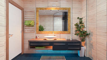 Modern Bathroom Design with wood effect ceramic and light effect concept 3d rendering