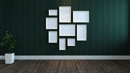 White photos frames with Lined green wallpaper wall, wooden floor and plant concept 3d rendering Banque d'images