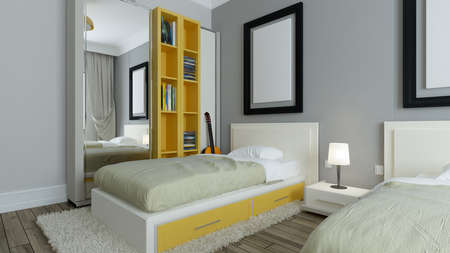 Modern dorm room, grey walls, yellow bookcase, twin bed with photo frame interior design concept 3D rendering