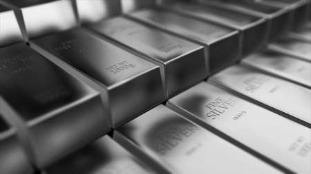 Realistic silver ingots, bars abstract background for finance 3d rendering