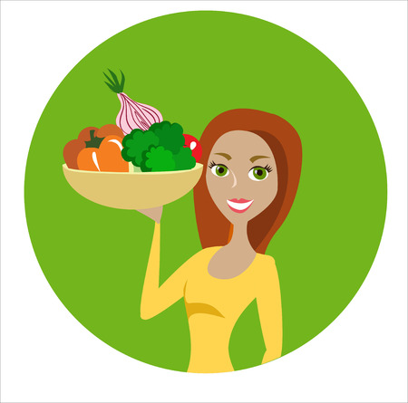 green hair: Beautiful red hair girl with the bowl full of vegetables in the green circle Illustration