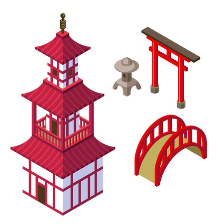 shinto: Japanese architecture isometric set with shinto tample, torii gates, garden lantern, and japanese bridge