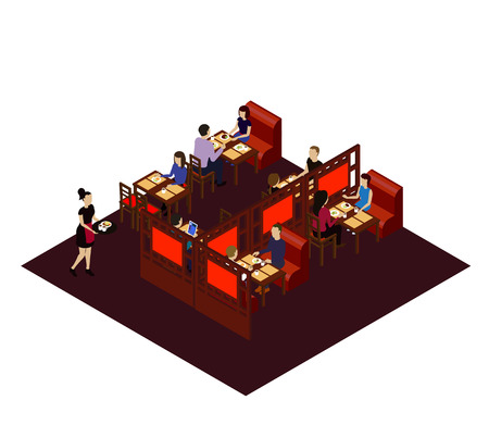 Interior of the Chinese restraint with customers and waitress. Isometric room in the Chinese restaraunt