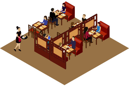 Interior of the Chinese restraint with customers and waitress. Isometric room in the Chinese restaraunt Vektoros illusztráció