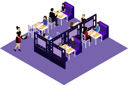 restaraunt: Interior of the Chinese restraint with customers and waitress. Isometric room in the Chinese restaraunt