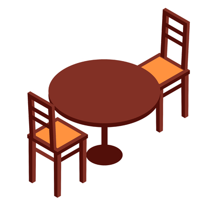isometric table and chairs Illustration