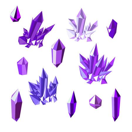 Set of amethyst crystals