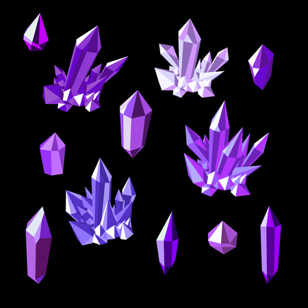 Set of amethyst crystals in black background