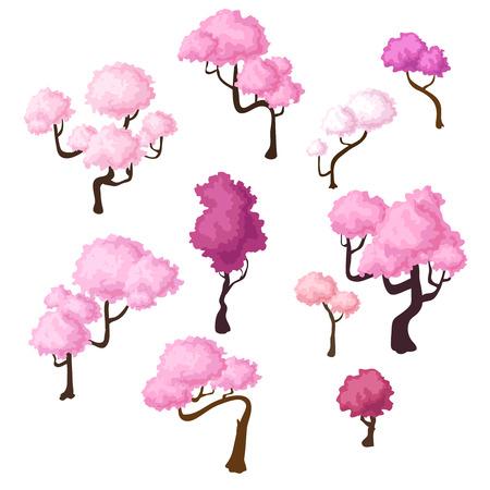 plum island: Set of isometric sakura trees, bluming cherry