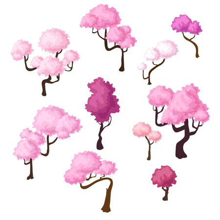 Set of isometric sakura trees, bluming cherry