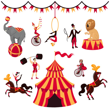 Circus elements set: tent, monket on bike, air gymnastics, gymnast on horse, elephant on ball, lion with tamer, strongman, jugger and circus horse