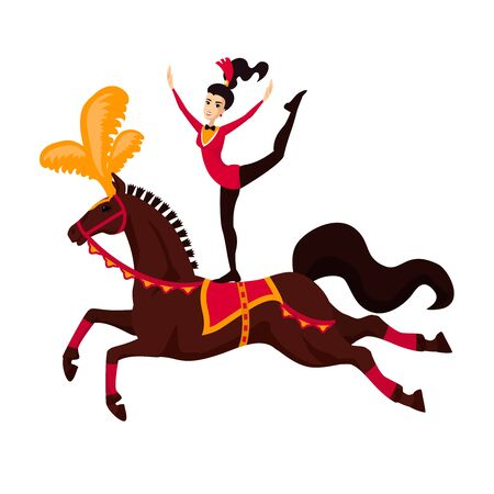 Acrobat girl on circus horse