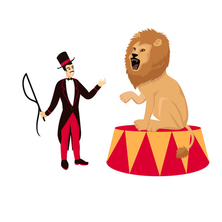 Circus lion with tamer Illustration