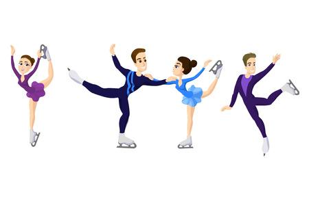 Pair skating. figure skating boy and girl, cartoon skate man and woman, boy and girl in Ice skates. Male and woman skating. Skating couple Stock Photo