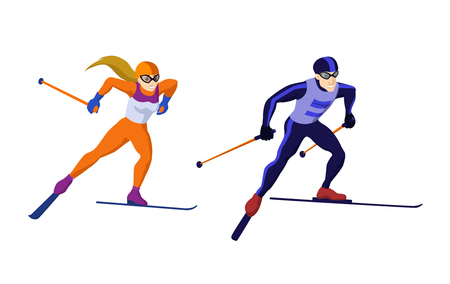 Cross country skiing girl and boy isolated on white vector skiing sportsmen Çizim