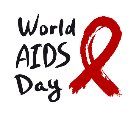 world aids day calligraphy hand ink writing drawn with red ribbon