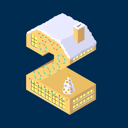 Blue winter Christmas house in shape of number two. Illustration