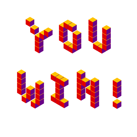 Vector retro game lettering pixel isometric voxel red on white you win ! Illustration