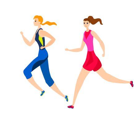 Vector illustration isolated on white cartoon flat running girls active sportive wemen run two female 向量圖像