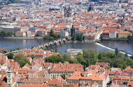 notability: Prague - town and Charles bridge from outlook tower
