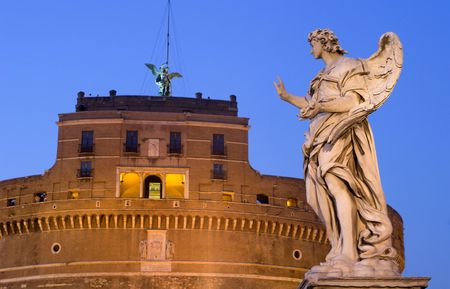 statuary: Rome - Angel statue and castle