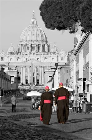 pilgrim journey: Rome - monsignore and st. Peters cathedral Stock Photo