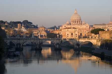 pilgrim journey: Rome - st. Peters basilica and Angels bridge by sunrise