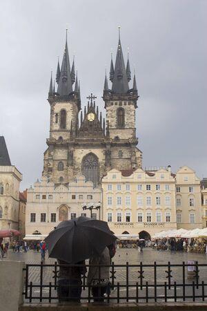 religiosity: prague in rain - church of our Lady Before Týn