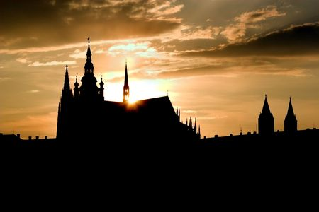 notability: cathedral of st. vitus in prague - silhouette in sunset Stock Photo