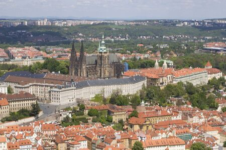 notability: st. vitus cathedral and castle from outlook-tower - Prague Stock Photo