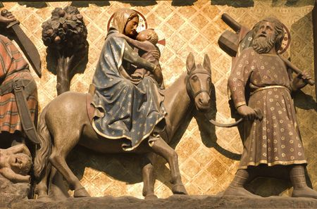 flight to Egypt - holy Family from Notre-Dame in Paris Stock Photo - 3893420