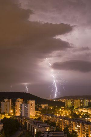 commotion: bolt in the storm over Bratislava habitation - night