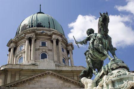 eugene: Budapest - statue of Prince Eugene and castle cupola