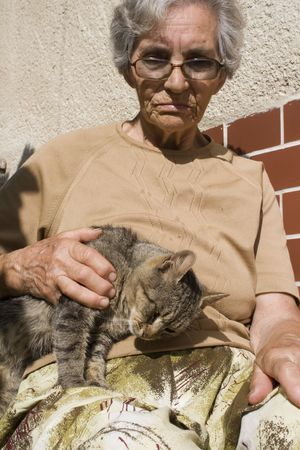 old woman and cat photo
