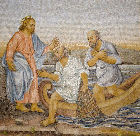 religiosity: Rome - mosaic - miracle fishing from New Testament in basilica of st. Peters