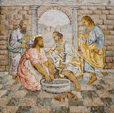 feet washing: Rome - mosaic - feet washing from New Testament in basilica of st. Peters - last super
