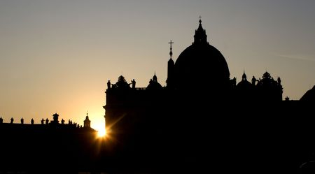 pilgrim journey: Rome - silhouette of st. Peters cathedral in sunset