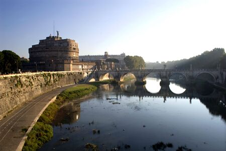 statuary: Rome - Angels castle and bridge in morning