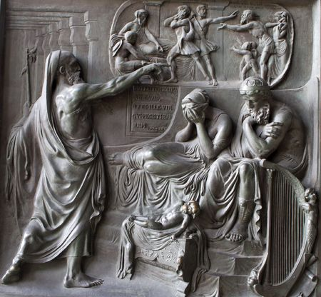 Paris - Madeleine church - relief from gate - sin of David Stock Photo