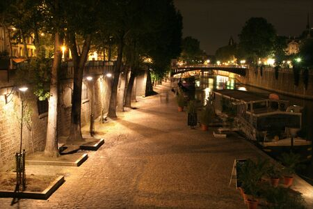 quayside: quay in Paris - night