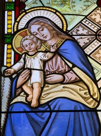 katherine:  Banska Stiavnica - holy Mary from window-pane - st. Katherine church