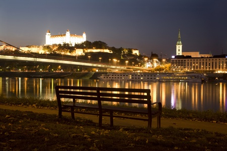 the danube:  bratislava - castle and cathedral and Danube