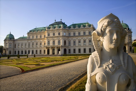 Vienna - sphinx and Belvedere palace in morning  photo
