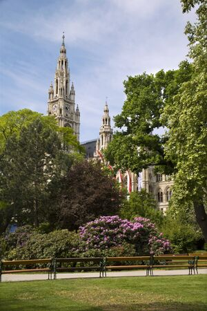 guild halls: Vienna - town hall and park - spring