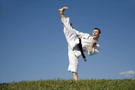 matiging: kick van de wereld meester in karate Stockfoto